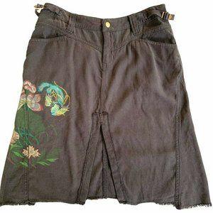 NWOT Da-Nang Surplus Skirt Knee Length Charcoal Floral Painted Silk M XS Y2K